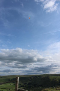 Kite and camera in flight above Mam Tor