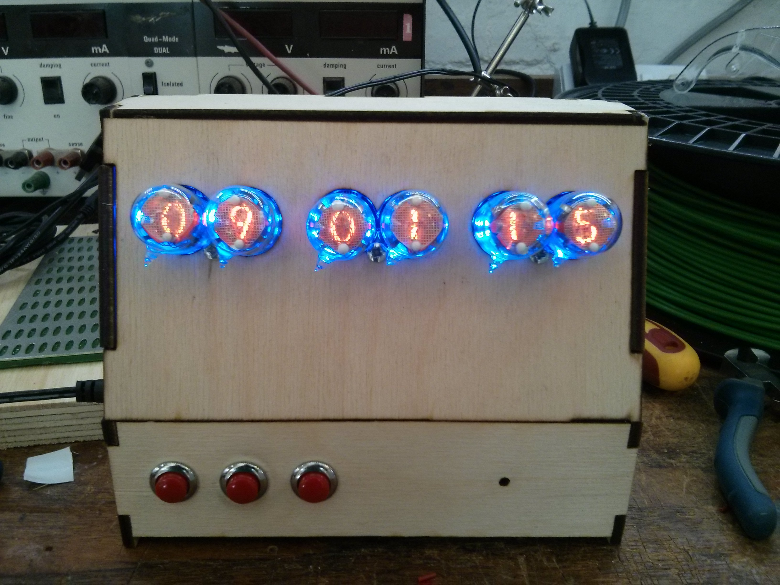 Lasercut nixie clock prototype